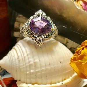 Jewelry - Beautiful Uniquely Faceted Amethyst Sterling Ring